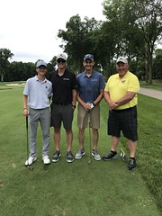 TPC Deere Run Silvis, IL  L-r: Connor Hamm, Josh Hamm, Kendell Litchfield '85 and Marc Lawver '87