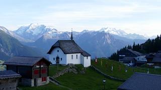Bettmeralp Chapel & Swiss Alps panoramic view Switzerland