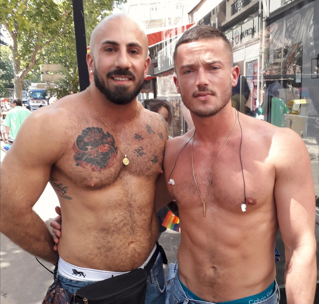 DOUBLE HUNKY MUSCLE STUDS ! ~  PARIS PRIDE  2019 !  ( safe photo  )