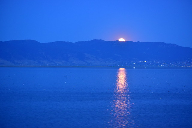 Full moon rising over the Wasatch Range