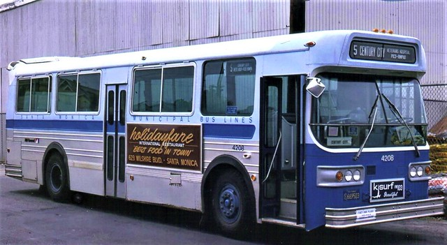 The clunky looking AMC Transit Bus from the 1980s used by Santa Monica Municipal Blue Bus