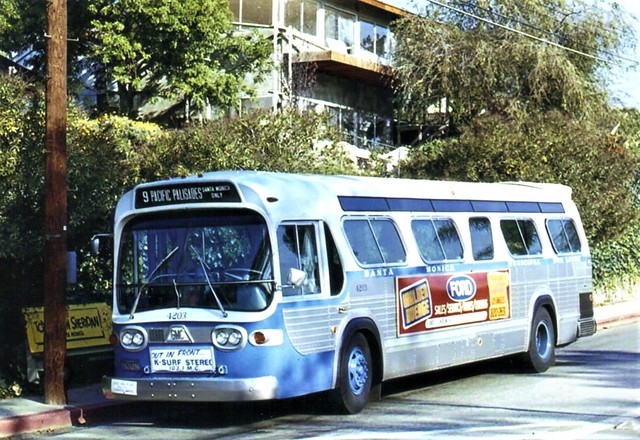 A smaller version of the GMC Fishbowl from the 1970's used on holidays and on lines with fewer riders  headed to Santa Monica from Pacific Palisades, CA