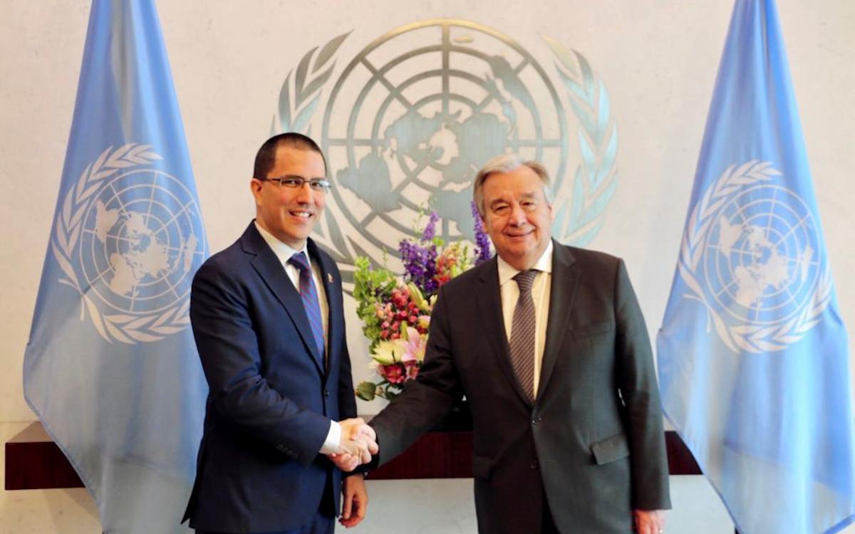 Canciller Arreaza se reúne con el secretario general de la ONU António Guterres en pro de favorecer el diálogo entre venezolanos
