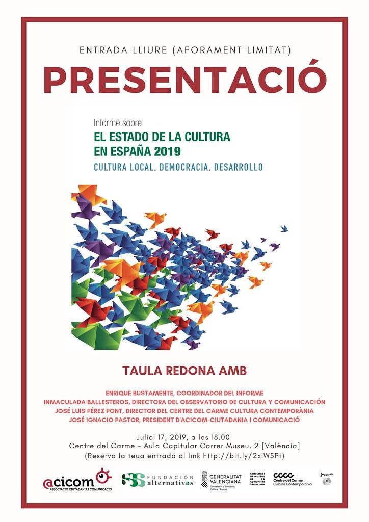 """20190717 Presentació del """"Informe Estado de la Cultura en España 2019"""" CCC del Carme"""