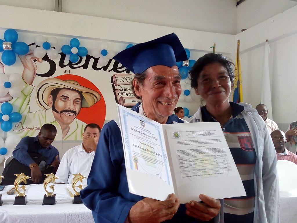 Ceremonia de graduación de básica primaria de excombatientes de FARC, en San José de Apartadó - Urabá. 13/Julio/2019