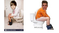 Justin Bieber sitting on the Toilet
