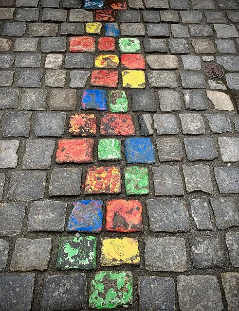 Follow the colored brick road...