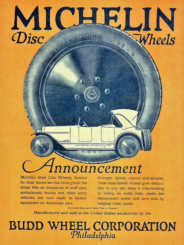 Budd Wheel Corporation, Michelin Disc Wheels 1920