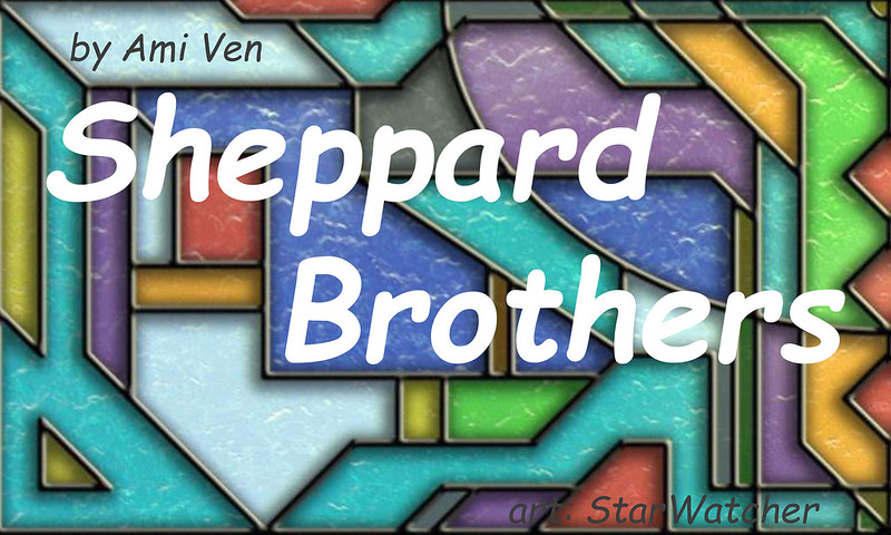 Multicolored panel of an Atlantis window as background.  Text reads 'Sheppard Brothers'.