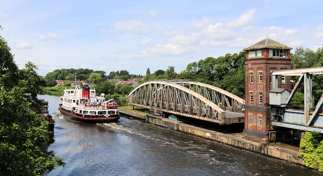 18th June 2019.  Royal Iris of the Mersey, passes the swing bridges on the Manchester Ship Canal at Barton-upon-Irwell, Greater Manchester