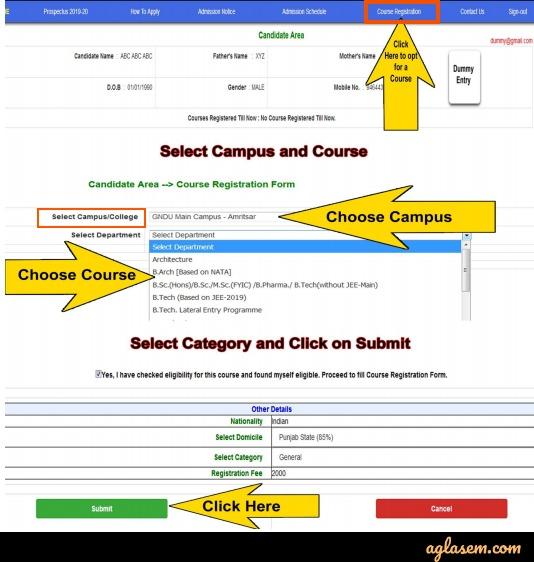 Gndu gmet 2020 course selection