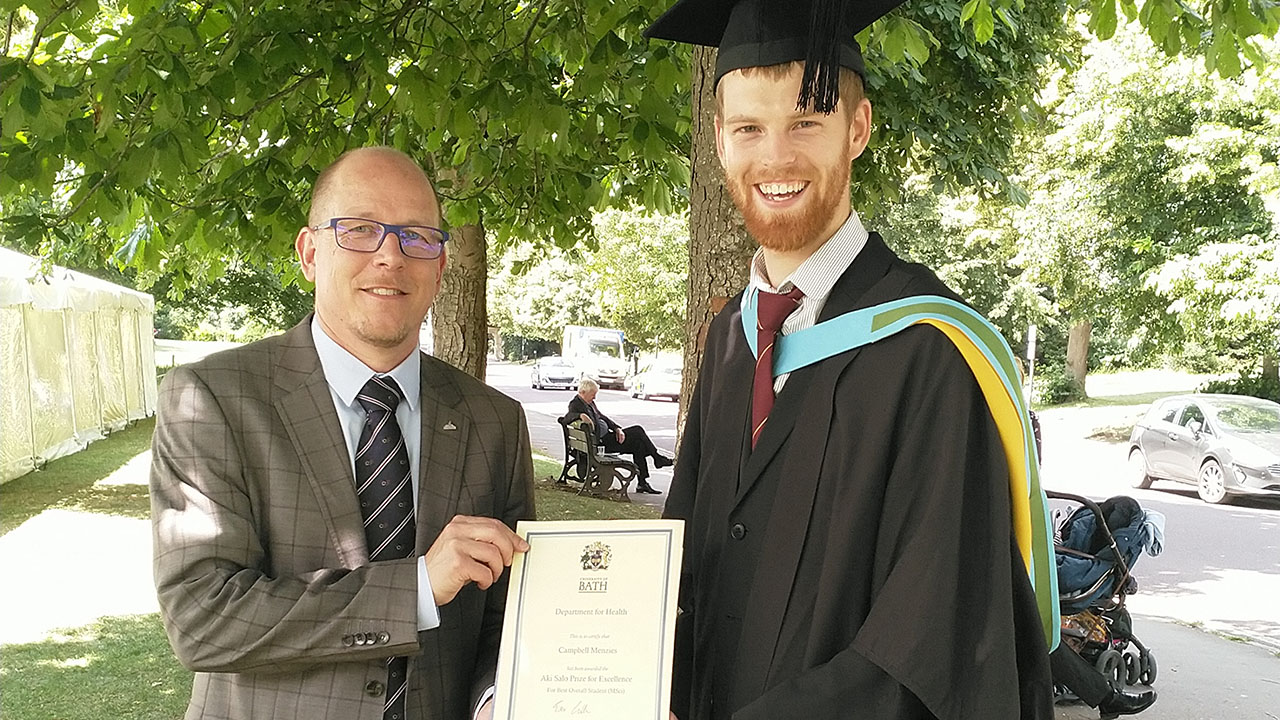 Dr Aki Salo and prize winner Campbell Menzies