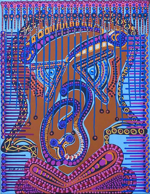 Cuadros etnicos en acrilico multicolor Mirit Ben-Nun