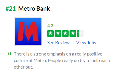 Metro Bank glassdoor