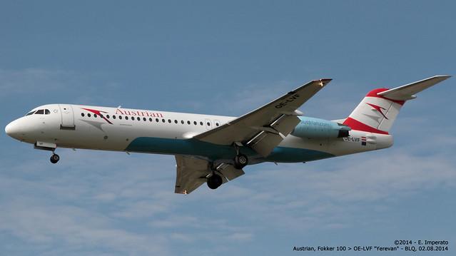 Austrian, Fokker 100 > OE-LVF (BLQ/LIPE 02.08.2014)