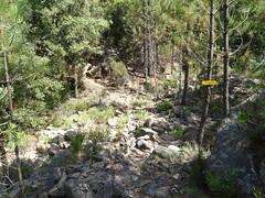 Panneau vers la brèche du Carciara au ruisseau de Peru