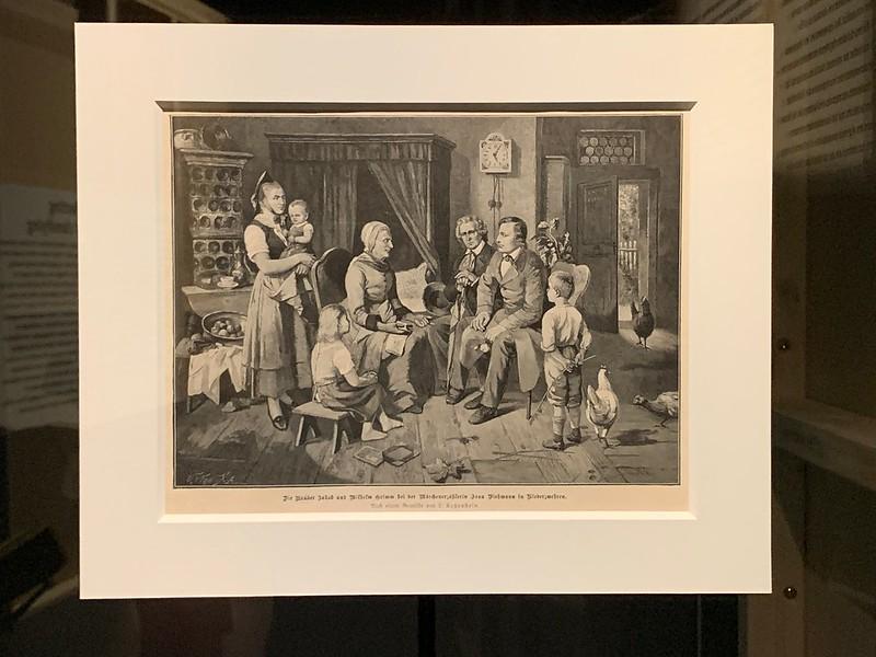 Les frères Grimm chez la conteuse Madame Viehmann à Niederzwehren