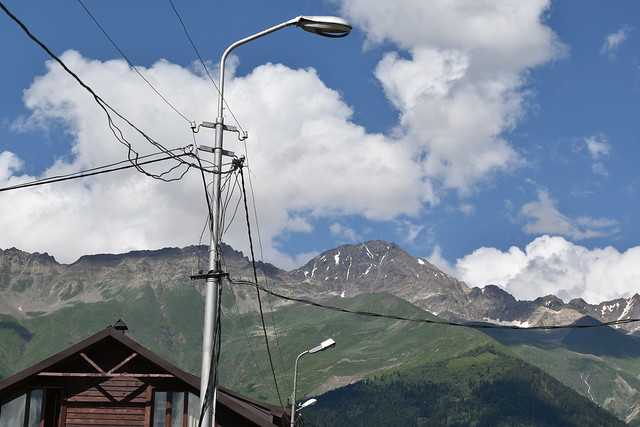mountain, clouds and street lamps