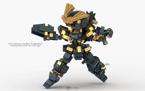 RX-0 Unicorn Gundam 02 Banshee Destroy Mode, OVA. Ver. Chibi Type Pose 02