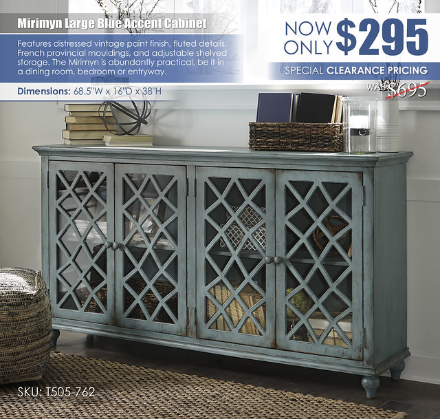 Mirimyn Large Blue Accent CabinetT505-762_Clearance