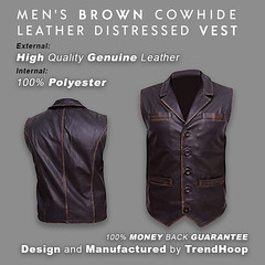 Trendhoop Men's Brown Hell on Wheels Cullen Bohannon Distressed Cowhide Leather Vest