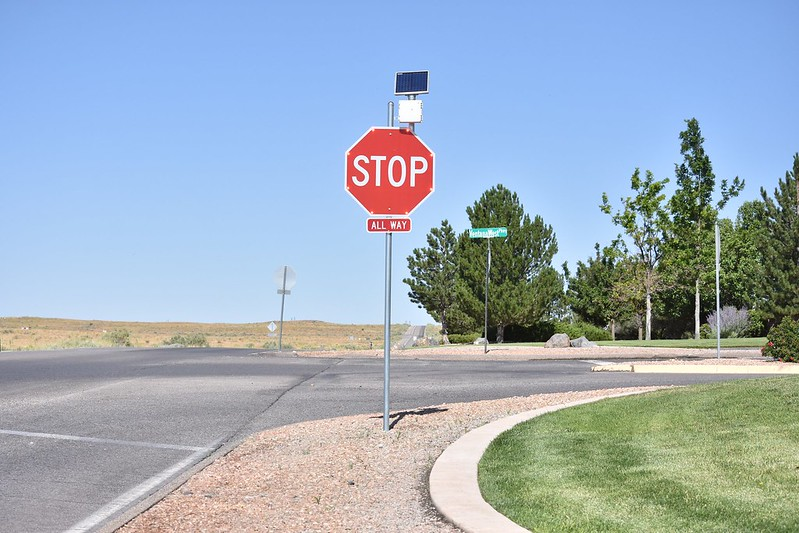Paseo del Norte and Ventana West Parkway Stop Signs
