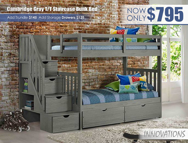Cambridge Gray Twin over Twin Staircase Bunk Bed by Innovations
