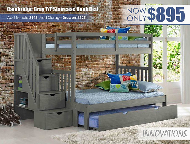 Cambridge Gray Twin over Full Staircase Bunk Bed by Innovations