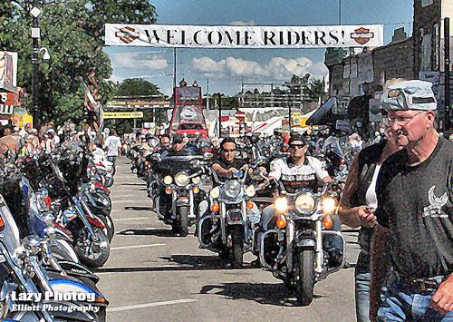 Aug 10 2010 - Riders descending on Sturgis South Dakota