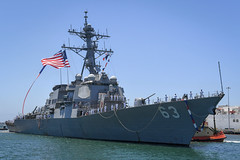 SAN DIEGO (July 18, 2019) The guided-missile destroyer USS Stethem (DDG 63) arrives in San Diego, where she will be homeported and undergo her midlife modernization. Stethem arrives in San Diego following 14 years of forward-deployed service in the Indo-Pacific region operating from Japan. (U.S. Navy photo by Mass Communication Specialist 2nd Class Alex Millar)
