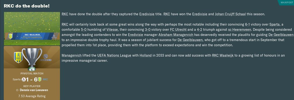 2034 Eredivisie win