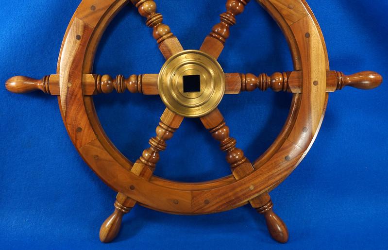 RD28874 Vintage 24 inch Wooden Ships Wheel Boat Helm Brass Center Nautical Decor DSC01169