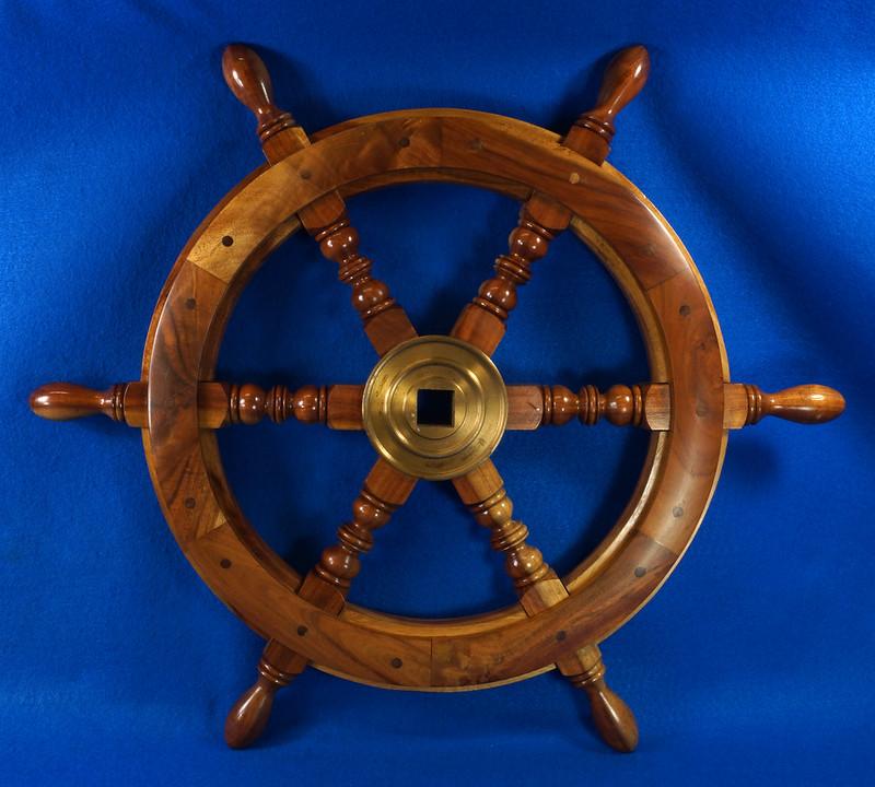 RD28874 Vintage 24 inch Wooden Ships Wheel Boat Helm Brass Center Nautical Decor DSC01163