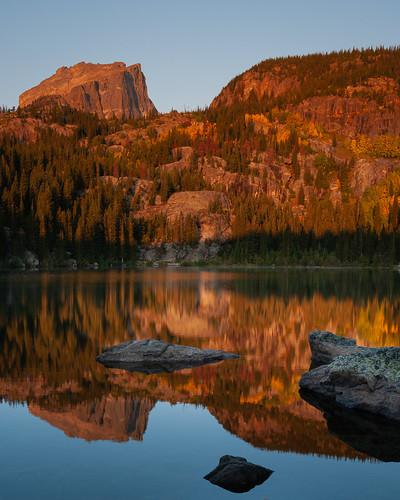 bearlake colorado goldenhour hallettpeak lake morning pentaxda21mmf32limited pentaxk20d rmnp reflection rockymountainnationalpark sunrise water aspen autumn fall foliage