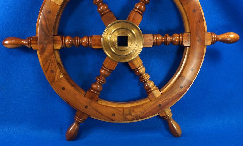 RD28874 Vintage 24 inch Wooden Ships Wheel Boat Helm Brass Center Nautical Decor DSC01165