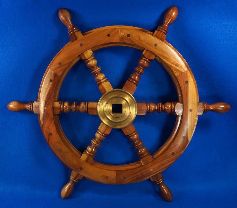 RD28874 Vintage 24 inch Wooden Ships Wheel Boat Helm Brass Center Nautical Decor DSC01161