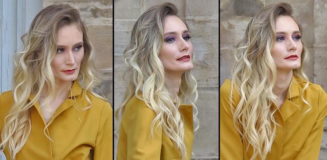 Three portraits of a blonde supermodel