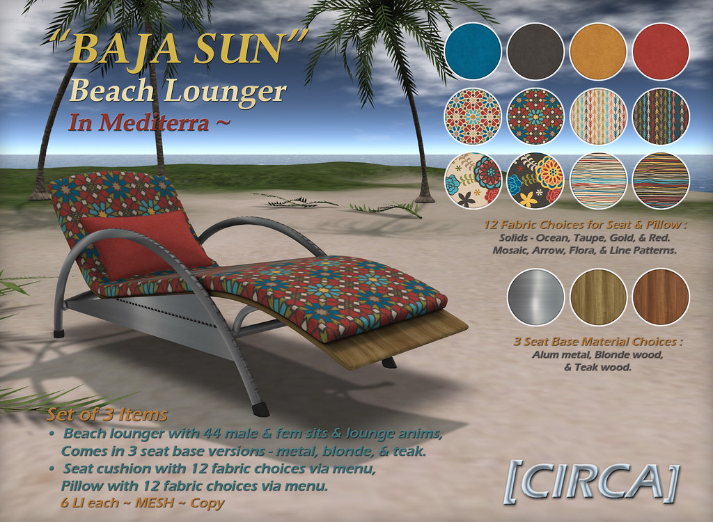 "@ The Boardwalk | [CIRCA] – ""BAJA SUN"" – Beach Lounger – Mediterra"