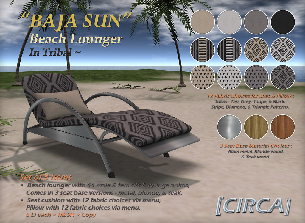 "@ The Boardwalk | [CIRCA] – ""BAJA SUN"" – Beach Lounger – Tribal"