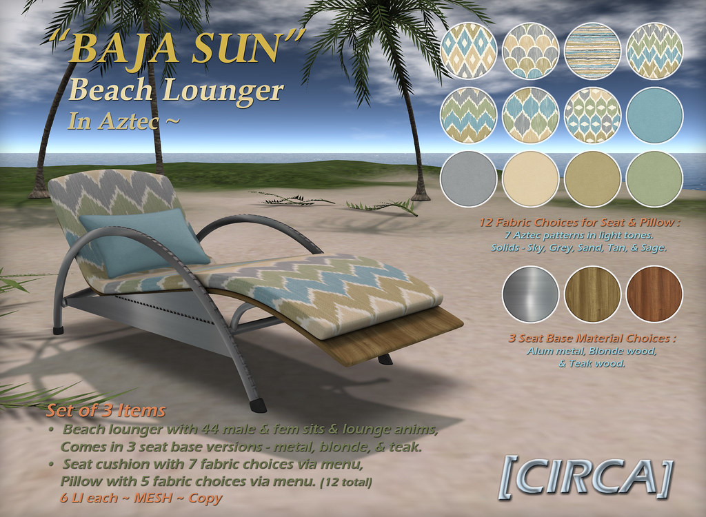 "@ The Boardwalk | [CIRCA] – ""BAJA SUN"" – Beach Lounger – Aztec"