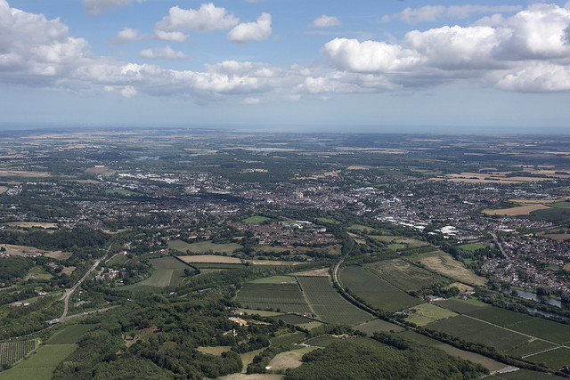 Flying towards Canterbury from the west - Kent UK aerial image