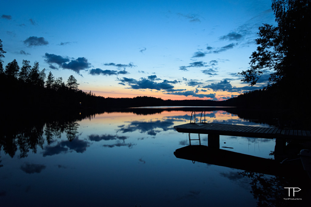 Midnight on a Finnish lake