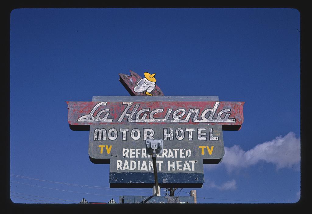 La Hacienda Motor Hotel sign, Route 89, Nogales, Arizona (LOC)