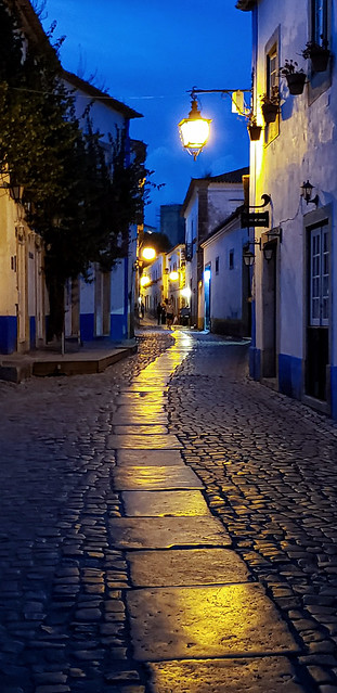 Obidos, Portugal, at night