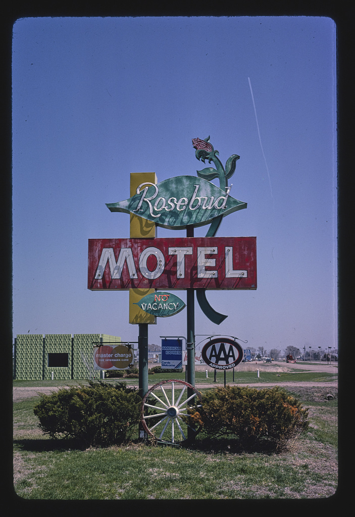 Rosebud Motel sign, entire sign, Route 30, Columbus, Nebraska (LOC)