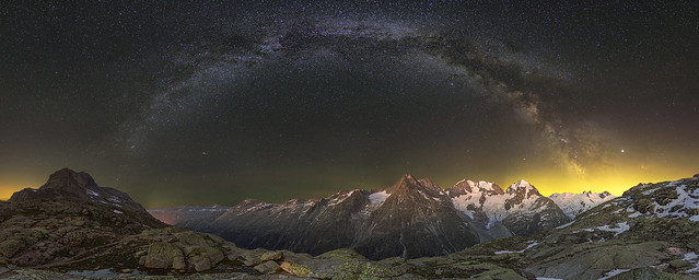 Fuorcla Surlej milky way panorama