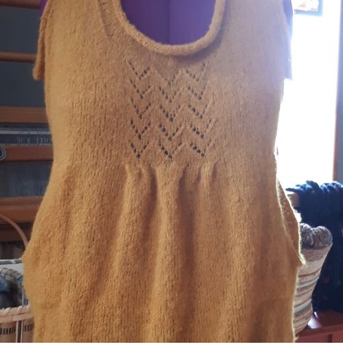 Paulette's new FO - knit using Drops Brushed Silk Alpaca because she can't wear mohair! Will be perfect to wear in the fall!