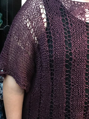My finished Denis by Elizabeth Smith knit using Euroflax Sport in Eggplant