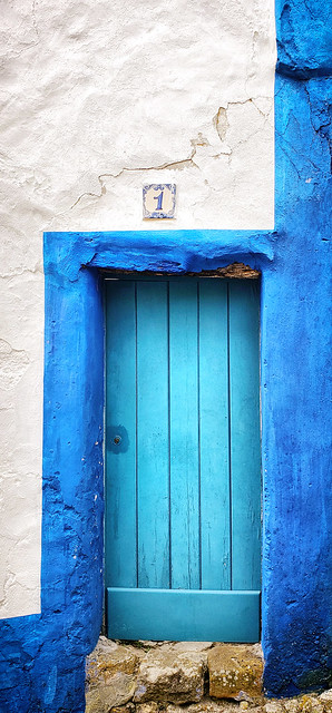 Blue door in Obidos, Portugal
