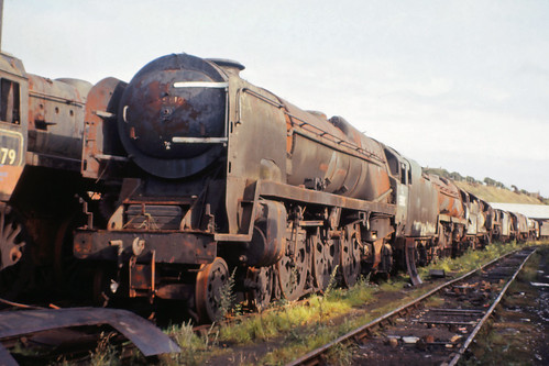 03Aug73. Railrover trip. Barry Scrap Yard. SR MN Class 35010 BLUE STAR 76079 34010 SIDMOUTH. [Slide_0424] | by MrDeltic